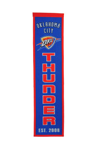 "Oklahoma City Thunder Heritage Wool Banner 8""x32"""