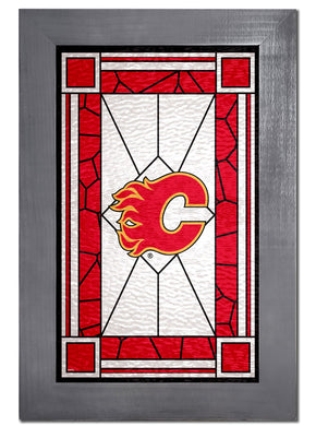 Calgary Flames Stained Glass Wood Sign