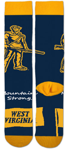 West Virginia Mountaineers Thin Crew Socks - Large