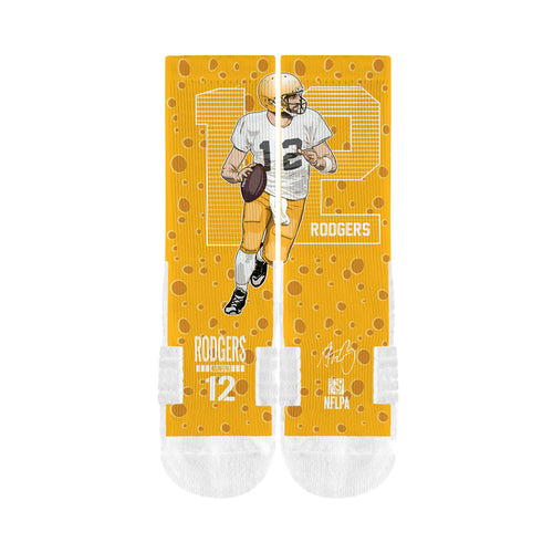 NFL fan gear Aaron Rodgers Green Bay Packers socks from Sports Fanz