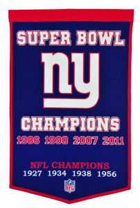 new york giants super bowl champions dynasty wool banner