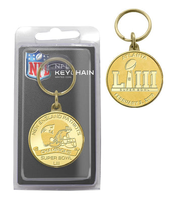 New England Patriots Super Bowl 53 Champions Bronze Coin Keychain