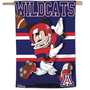"Arizona Wildcats Mickey Mouse Football Vertical Flag 28""x40"""
