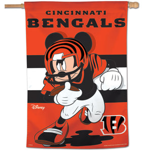 "Cincinnati Bengals Mickey Mouse Vertical Flag - 28""x40"""