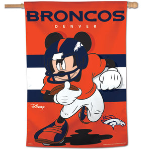 "Denver Broncos Mickey Mouse Vertical Flag - 28""x40"""