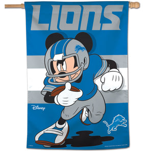 "Detroit Lions Mickey Mouse Vertical Flag - 28""x40"""