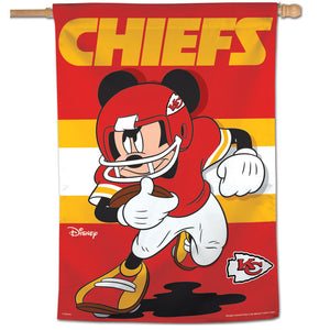 "Kansas City Chiefs Mickey Mouse Vertical Flag - 28""x40"""