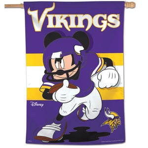 "Minnesota Vikings Mickey Mouse Vertical Flag - 28""x40"""