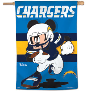 "Los Angeles Chargers Mickey Mouse Vertical Flag - 28""x40"""