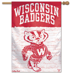 "Wisconsin Badgers College Vault Vertical Flag - 28"" X 40"""