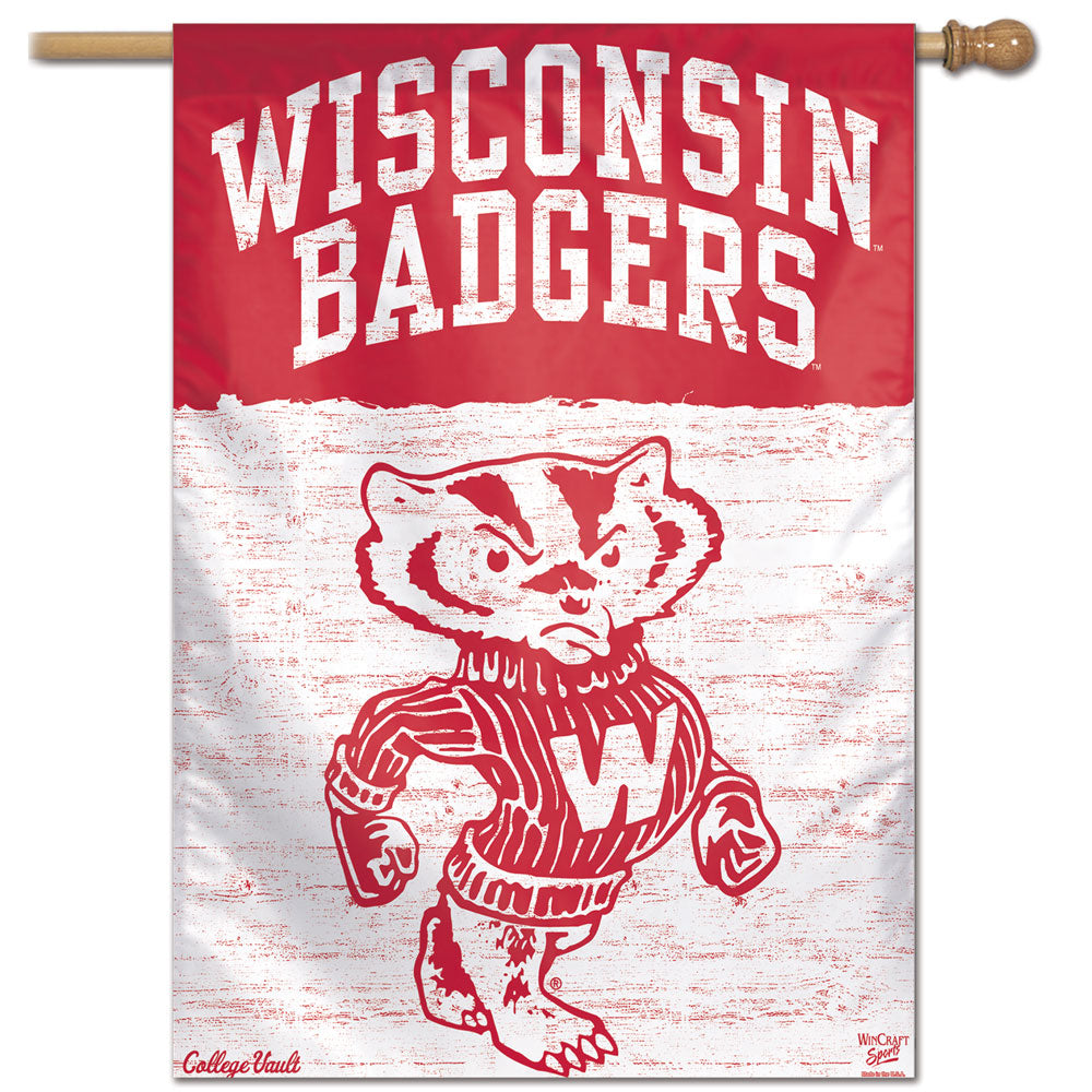 Wisconsin Badgers College Vault Vertical Flag - 28