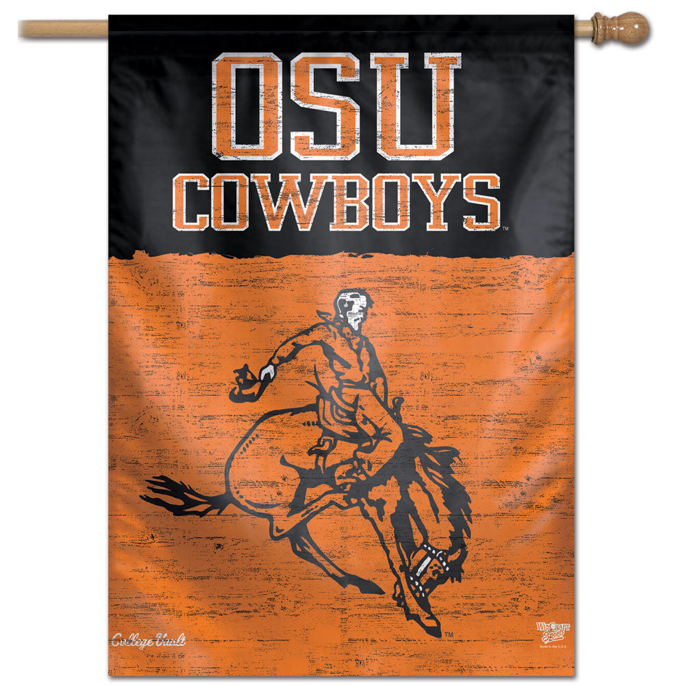 Oklahoma State Cowboys College Vault Vertical Flag - 28