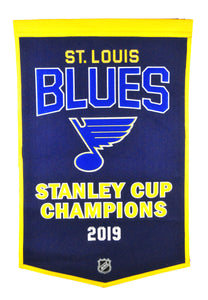 "St. Louis Blues Stanley Cup Champions Dynasty Wool Banner - 24""x36"""