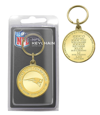 New England Patriots 6-Time Super Bowl Champions Bronze Coin Keychain