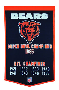 "Chicago Bears Dynasty Champions Wool Banners - 24""x36"""