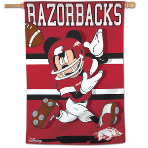 "Arkansas Razorbacks Mickey Mouse Vertical Flag 28""x40"""