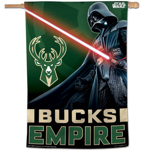 "Milwaukee Bucks Star Wars Darth Vader Vertical Flag 28""x40"""