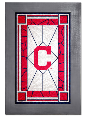 Cleveland Indians Stained Glass Wood Sign