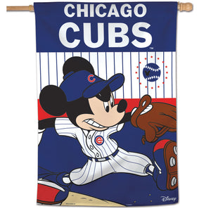 "Chicago Cubs Mickey Mouse Vertical Flag - 28""x40"""