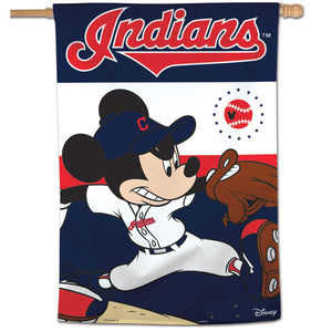 "Cleveland Indians Mickey Mouse Vertical Flag - 28""x40"""