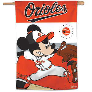 "Baltimore Orioles Mickey Mouse Vertical Flag - 28""x40"""