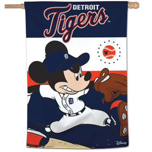 "Detroit Tigers Mickey Mouse Vertical Flag - 28""x40"""