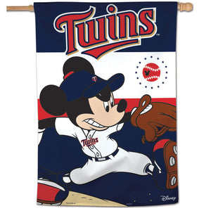 "Minnesota Twins Mickey Mouse Vertical Flag - 28""x40"""