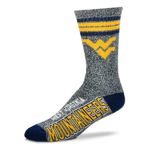 West Virginia Mountaineers - Marbled 4 Stripe Deuce Socks