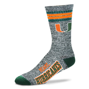 Miami Hurricanes - Marbled 4 Stripe Deuce Socks