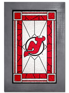 New Jersey Devils Stained Glass Wood Sign