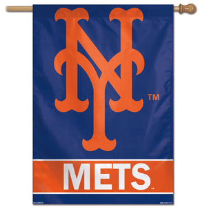 "New York Mets Wordmark Vertical Flag - 28""x40"""