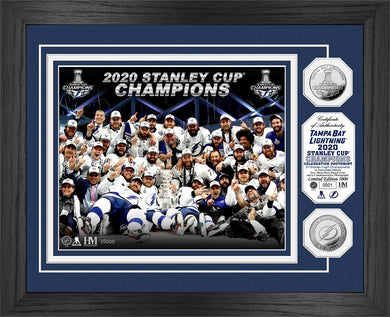 Tampa Bay Lightning 2020 Stanley Cup Champions Celebration Silver Coin Photo Mint. 13x16 frame with triple matting and a glass front panel features a custom and individually numbered 8x10 photo of the celebration on the ice after the NHL Final game