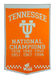 "Tennessee Volunteers Dynasty Wool Banner - 24""x36"""