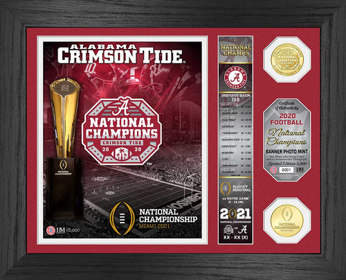 Alabama Crimson Tide 18-Time National Champions Banner Bronze Coin Photo Mint