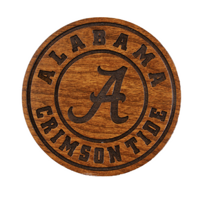 Alabama Crimson Tide Cherry Wood Coaster Set