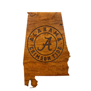 Alabama Crimston Tide Wood Wall Hanging - State Map - Alabama Seal - Large Size