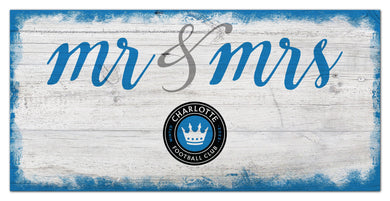 Charlotte FC Mr. & Mrs. Script Wood Sign - 6