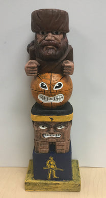 2019 wvu basketball tiki totem, west virginia mountaineers basketball tiki totem