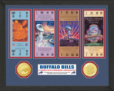 NFL Buffalo Bills 4 Consecutive Super Bowl Appearances Ticket Collection