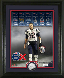 Tom Brady New England Patriots 6 time Super Bowl Champions