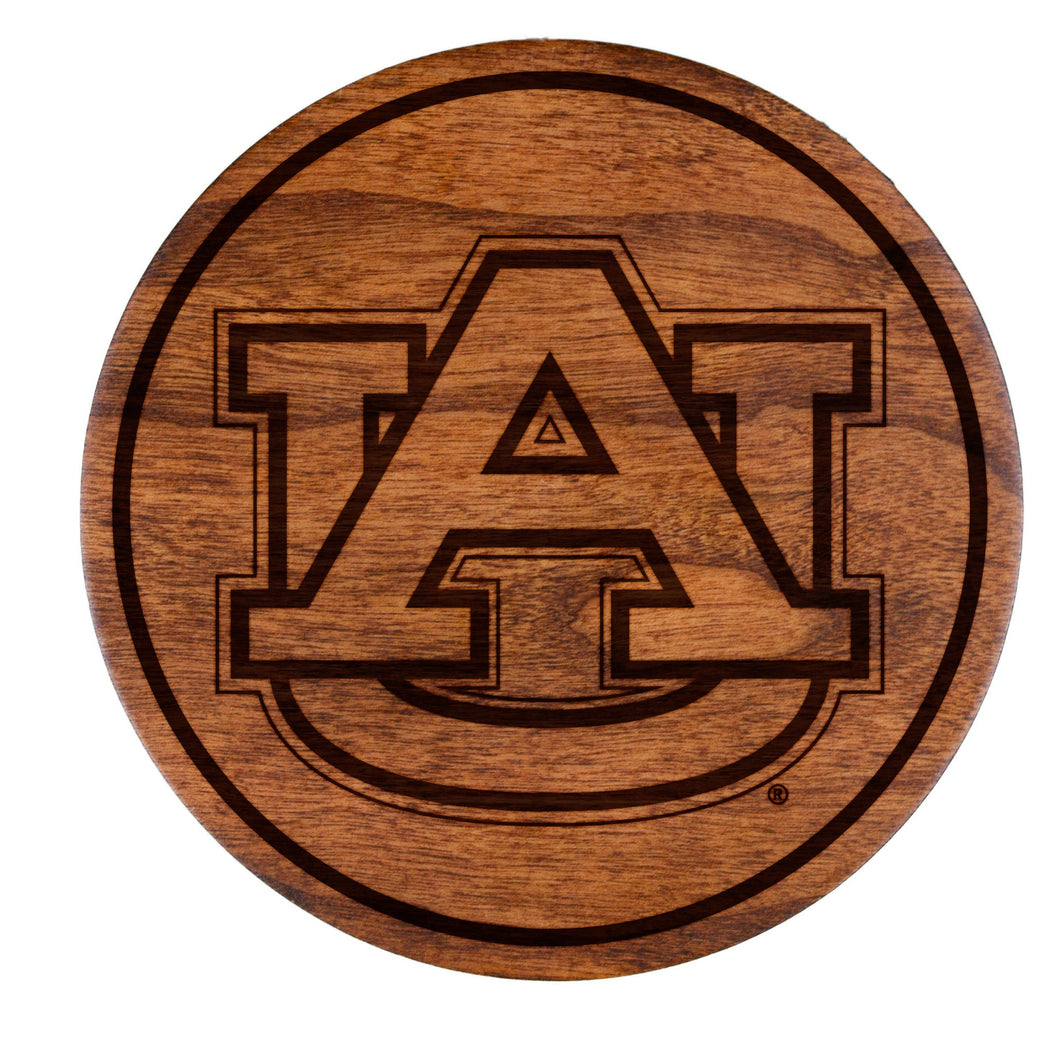 Auburn Tigers Cherry Wood Coasters Set - AU Block Letters