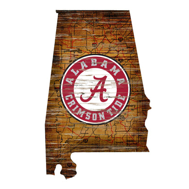 Alabama Crimson Tide Distressed State Logo Wood Sign