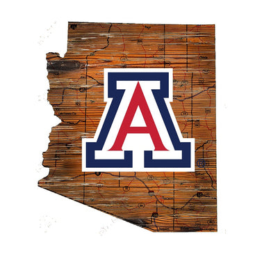 Arizona Wildcats Distressed State Logo Wood Sign