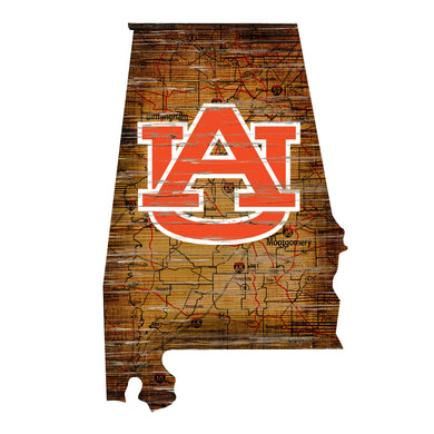 Auburn Tigers Distressed State Logo Wood Sign