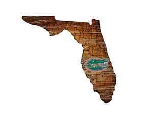 Florida Gators Distressed State Logo Wood Sign
