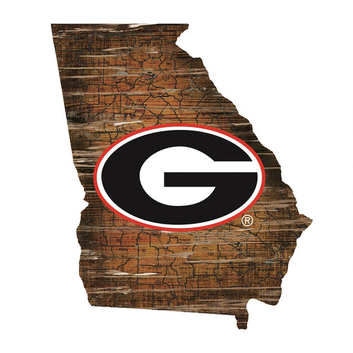 Georgia Bulldogs Distressed State Logo Wood Sign