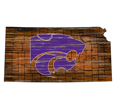 Kansas State Wildcats Distressed State Logo Wood Sign