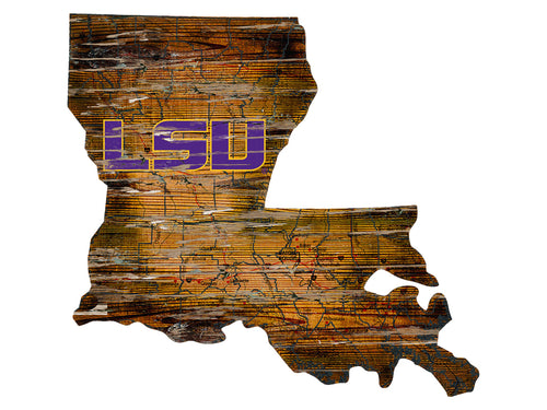 LSU Tigers Distressed State Logo Wood Sign