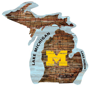 Michigan Wolverines Distressed State Logo Wood Sign