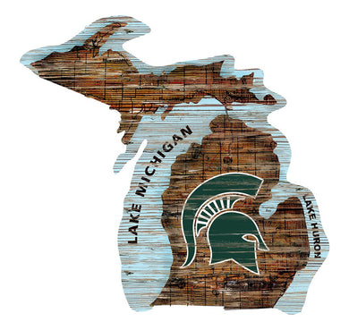 Michigan State Spartans Distressed State Logo Wood Sign